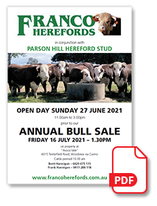 Franco Herefords 2021 Sale Catalogue Cover